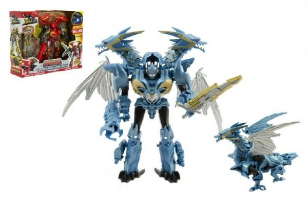 Transformer drak/robot plast asst 3 barvy v krabici 28x23x8cm