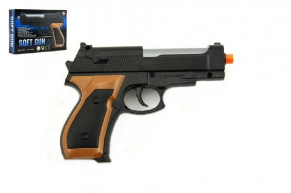Pistole se zásobníkem na kuličky 15cm + kuličky plast v krabičce 14x10x3cm
