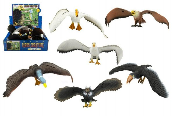 Pták plast 30cm asst 6 druhů 8 ks v boxu