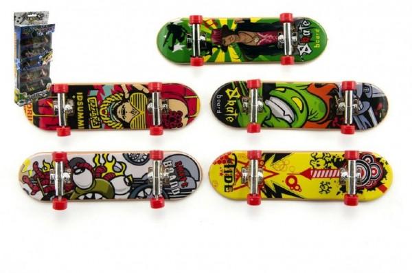 Skateboard prstový plast 10cm asst 5ks v krabičce