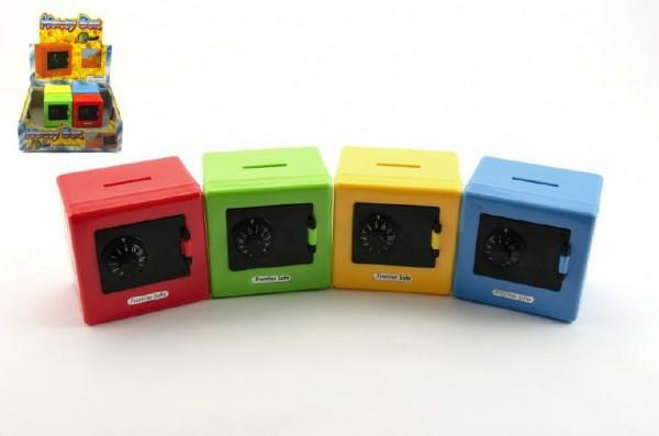 Pokladnička trezor plast 8,5 cm asst 4 barvy 12 ks v boxu
