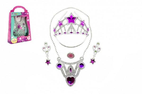 Sada krásy korunka + náušnice +náhrdelník plast asst 2 barvy v krabičce 19x28x6cm