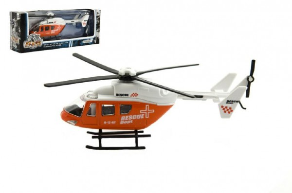 Vrtulník/Helikoptéra kov 15cm v krabičce 18x7x4cm