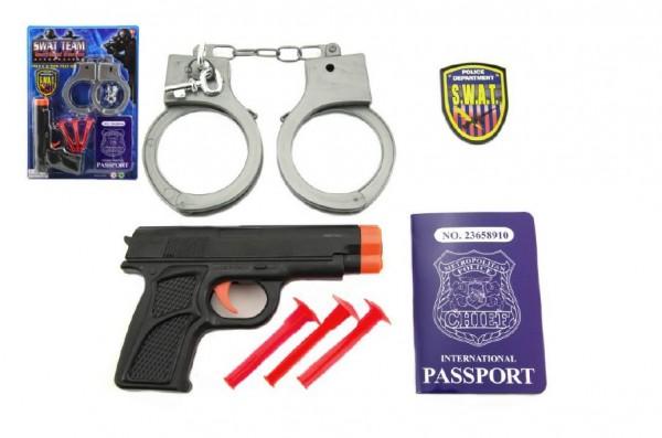 Policejní sada plast pistole na přísavky + pouta a doplňky na kartě