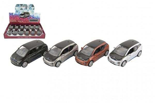 Auto Kinsmart BMW i3 kov 12cm na zpětné natažení asst 4 barvy 12ks v boxu