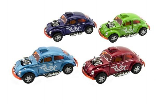 Auto Kinsmart VW Classical Beetle Custom Dragracer 12cm na zpětné natažení asst 4 barvy 12ks v boxu