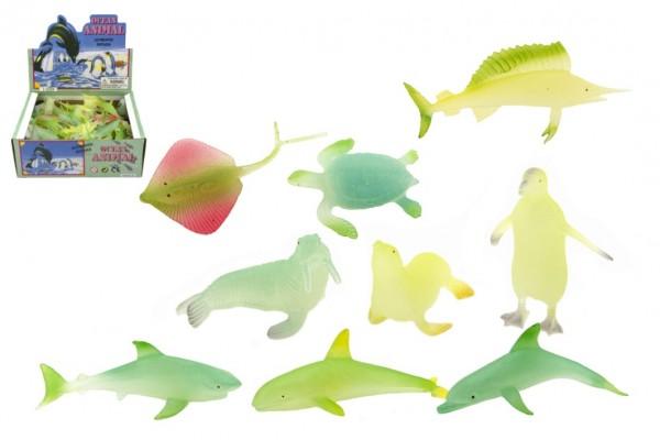 Zvířátka mořská svítící plast 6cm asst mix druhů 72 ks v boxu
