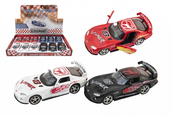 Auto Kinsmart Dodge Viper GTS-R 1:36 12,5cm kov/plast 4 barvy na zpětné natažení 12ks v boxu