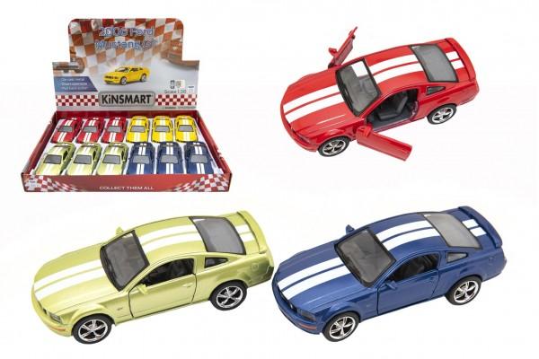 Auto Kinsmart 2006 Ford Mustang GT 1:38 12,5cm kov/plast 4 barvy na zpětné natažení 12ks v boxu