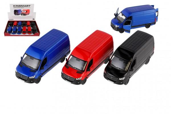 Auto/dodávka Kinsmart Mercedes-Benz Sprinter 1:48 kov/plast 12,5cm na zpětné nat. 4barvy 12ks v boxu