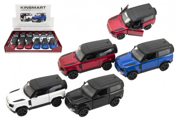Auto Kinsmart Land Rover Defender 90 kov/plast 1:36 12,5cm na zpětné natažení 4 barvy 12ks v boxu