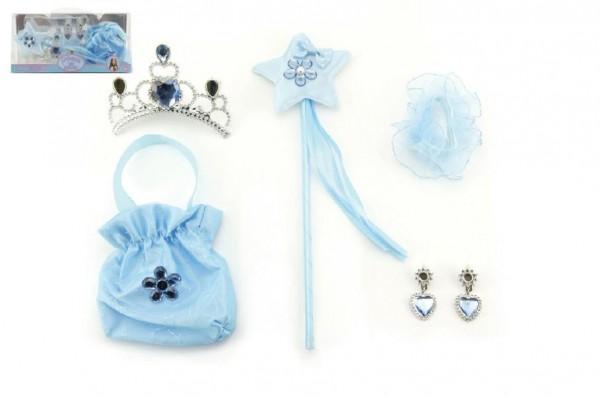 Sada princezna 5ks hůlka, korunka, kabelka(pompadurka), náušnice,gumička v dárkové krabičce karneval