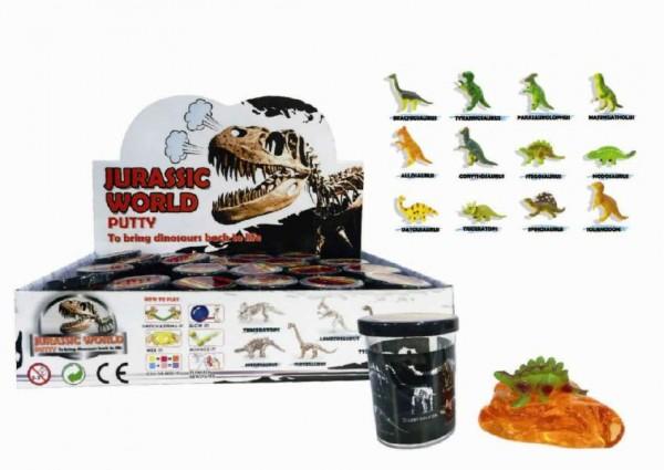 Sliz - hmota 80g Dinosaurus 6cm mix druhů 24ks v boxu