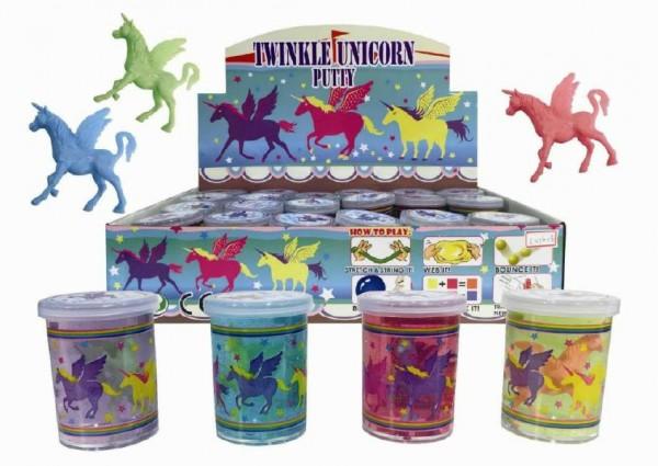 Sliz - hmota jednorožec kůň 6cm 4 barvy 24ks v boxu