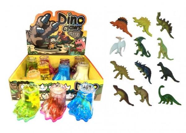 Sliz - hmota tlapa dinosaurus 8cm asst 4 barvy 12ks v boxu