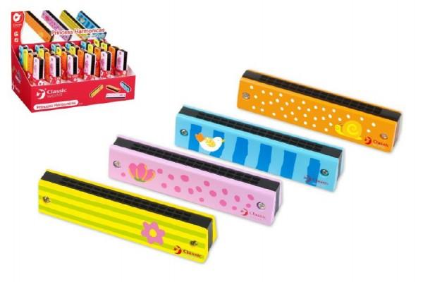 Harmonika Princess dřevo 13x2,7x2,8cm asst 4 barvy 12ks v boxu