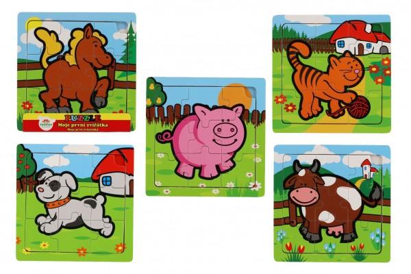 Mini puzzle dřevěné 9 dílků Moje první zvířátka pro nejmenší 15x15x0,8cm asst 6 druhů MPZ 12m+