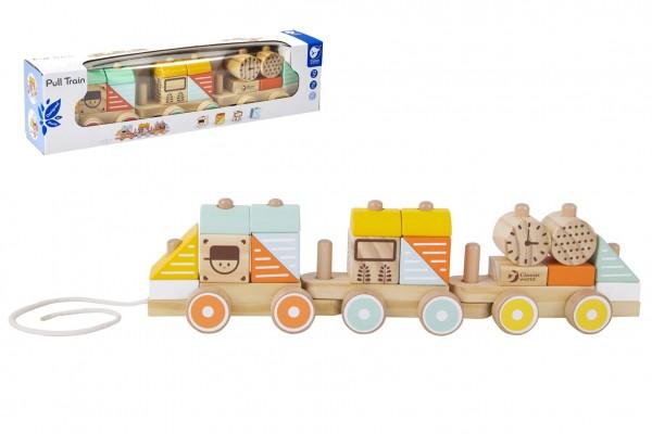 Vlak dřevo tahací 21 dílků v krabici 48x12x8,5cm  12m+