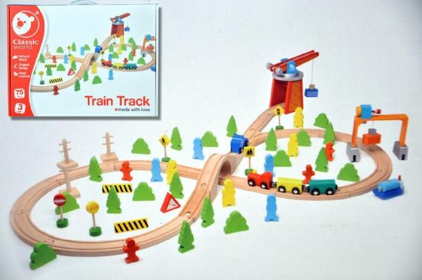 MEGA SET - vlak dřevo s dráhou + doplňky 75 ks v krabici