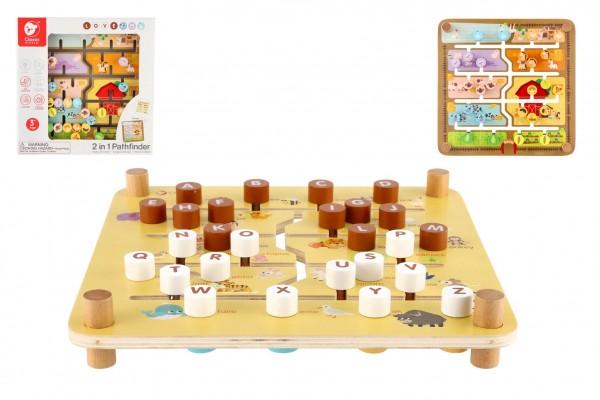 Vkládačka/edukační labyrint 2v1 dřevěný 30x30cm v krabici 32x32x8cm