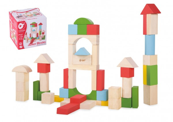 Kostky stavebnice dřevo 50ks v krabici 16x16x16cm 12m+
