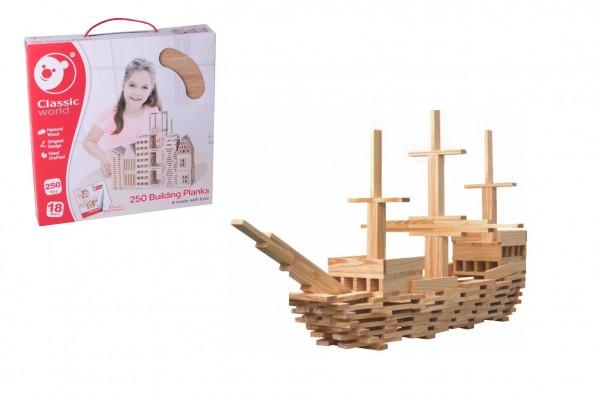 Prkna/Desky stavební dřevo 250ks v krabici 37x37x6cm 18m+