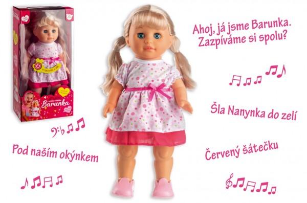 Panenka Barunka chodící a česky zpívající plast 42cm na baterie se zvukem v krabici 21x44x11cm