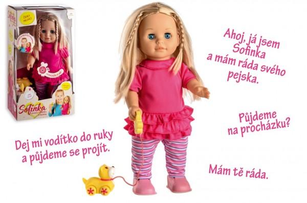 Panenka Sofinka s pejskem chodící a česky mluvící plast 42cm na bat. se zvukem v krabici 26x44x13cm