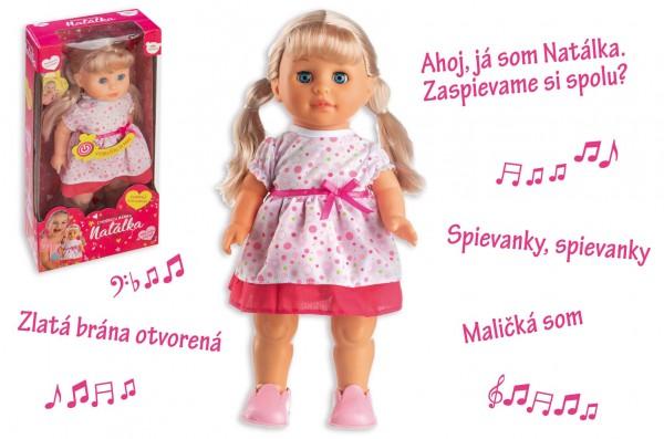 Panenka Natálka chodiaci a slovensky spievajúc plast 42cm na batérie so zvukom v krabici 21x44x11cm