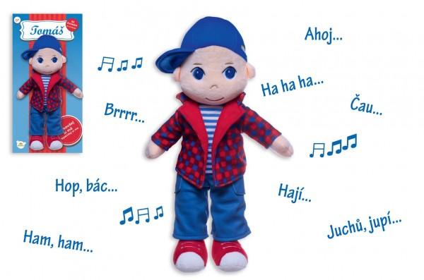 Panenka/Panáček kluk Tomáš hadrový plyš 40 cm mluvící na kartě v sáčku 0+