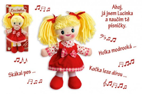 Panenka Lucinka hadrová plyš 30 cm česky zpívající na kartě