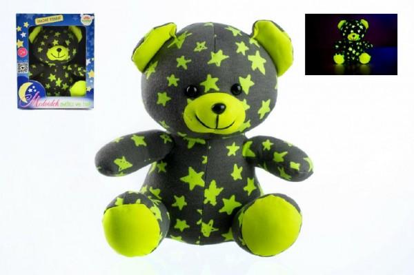 Medvídek svítící ve tmě 21cm šedý/žlutý plyš v krabici