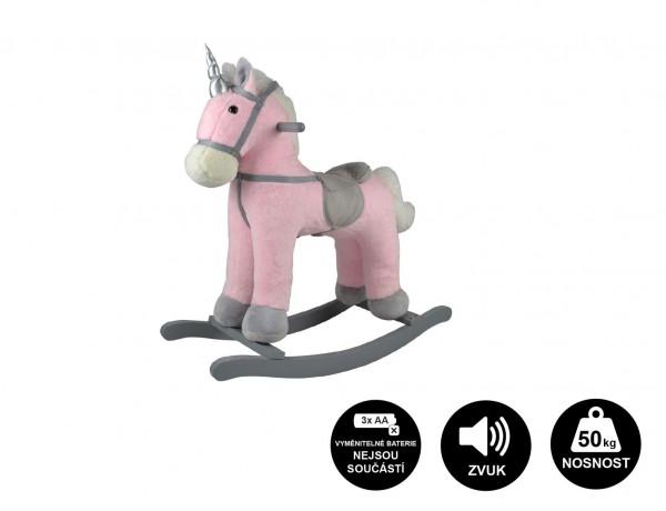 Kůň houpací růžový jednorožec plyš na bat. 71cm se zvukem a pohybem nosnost 50kg v krab. 62x56x19cm