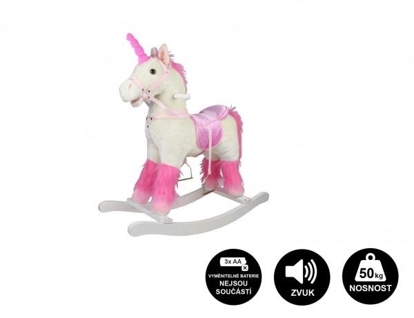 Kůň houpací bílý jednorožec plyš na baterie 71cm se zvukem a pohybem nosnost 50kg v krab. 62x56x19cm