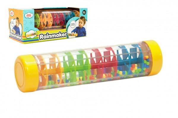 Kuličkový déšť/chrastítko barevné plast 20cm hlavolam v krabičce 21x8,5x8,5cm 12m+