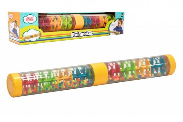 Kuličkový déšť/chrastítko barevné plast 40cm hlavolam v krabičce 41,5x8,5x8,5cm 12m+