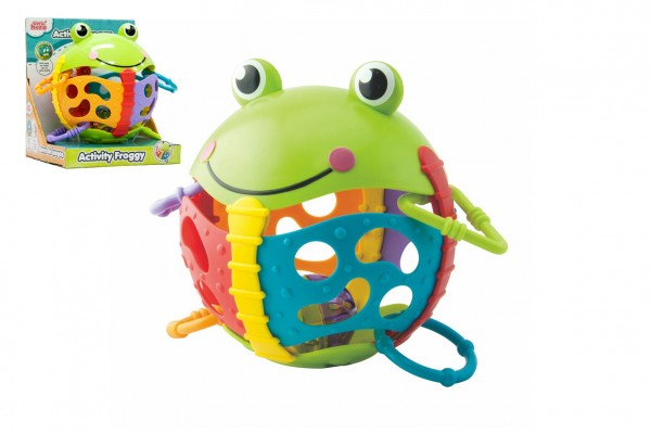 Chrastítko žabka plast s kroužky v krabičce 17x19x15cm 6m+
