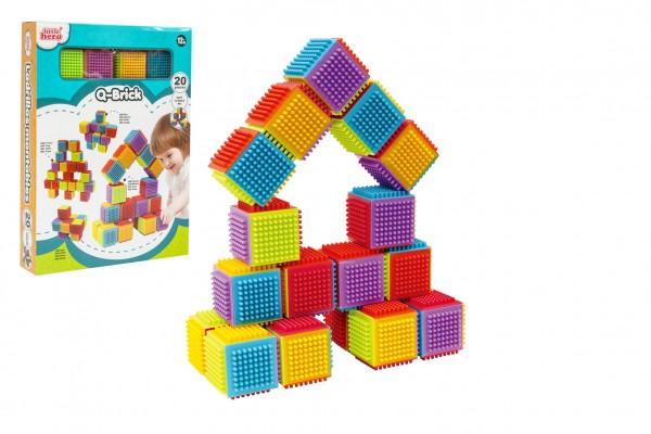 Stavebnice kostky plast 20ks v krabici 26x35x6cm 12m+