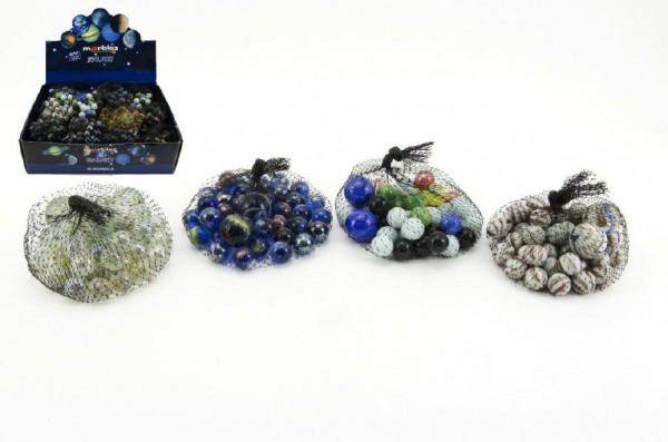 Kuličky skleněné cvrnkací různé velikosti asst 38+2 ks v síťce 7x7cm 24ks v boxu