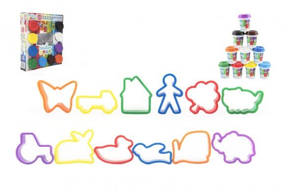 Modelína/Plastelína sada 10 barev + vykrajovátka v krabici 25x28x6cm