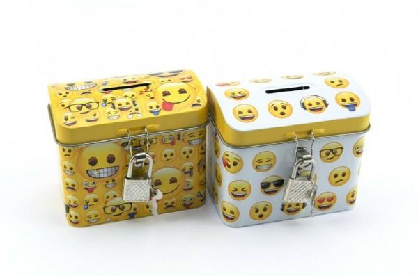 Pokladnička smajlík truhla se zámkem plech 9x8cm - žlutá