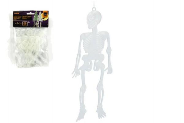 Kostlivec svítící na pověšení plast 14cm 10ks v sáčku 13x22x2cm karneval