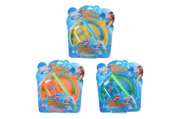 Bublifuk/sada na velké bubliny plast 4ks asst 3 barvy na kartě
