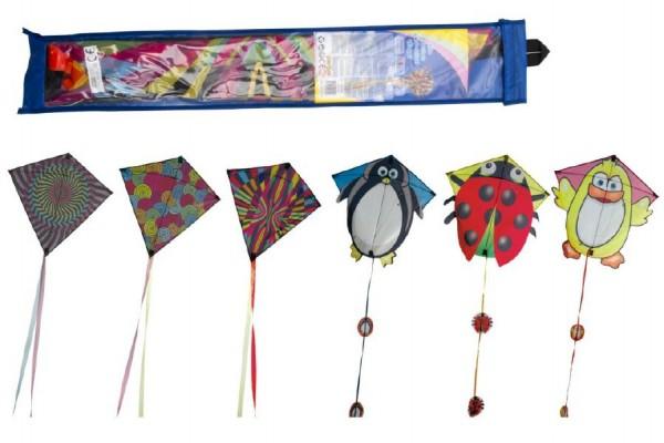 Drak létající nylon 70x68cm asst 6 barev v sáčku