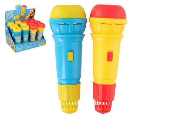 Mikrofon s ozvěnou plast 24cm asst 2 barvy 12ks v boxu