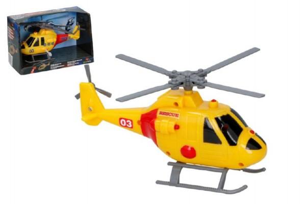 Helikoptéra/vrtulník záchranářský plast 20cm na baterie se světlem se zvukem v krabici