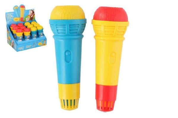 Mikrofon s ozvěnou plast 15cm asst 2 barvy 12ks v boxu