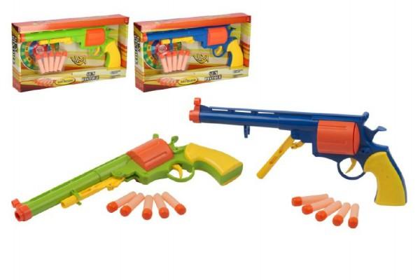 Pistole na pěnové náboje 5ks plast 34cm asst 2 barvy na baterie se zvukem v krabici 35x20x6cm