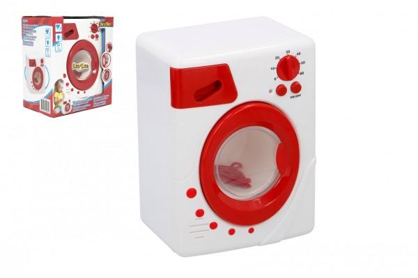 Pračka plast 19cm na baterie se zvukem se světlem s ramínky v krabici 19x22x12cm