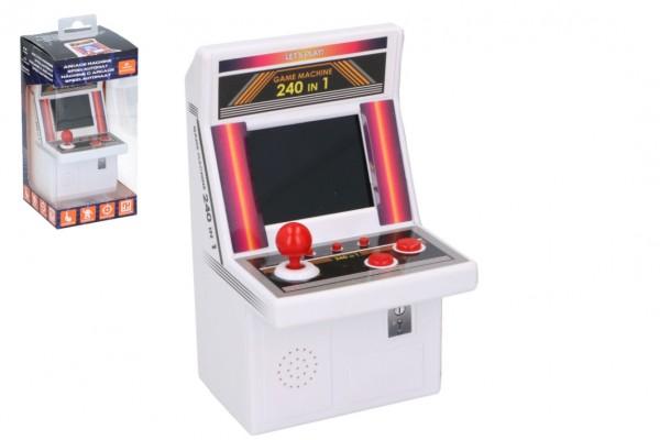 Automat hrací na arkádové hry hlavolam plast na baterie 240 her v krabici 10x21x10cm v sáčku